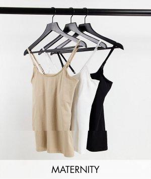 Комплект из 3 маек для кормящих мам черного, белого и бежевого цветов -Светло-бежевый цвет New Look Maternity