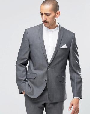 Темно-серый супероблегающий пиджак Camden Ben Sherman. Цвет: серый