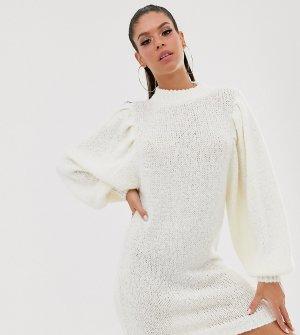 Платье-джемпер мини с пышными рукавами ASOS DESIGN Tall-Кремовый Tall
