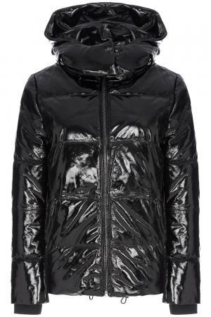 Утепленная кожаная куртка с отделкой трикотажем La Reine Blanche