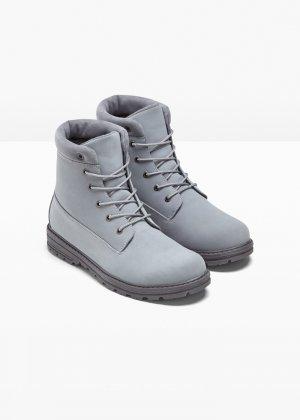 Детские ботинки на шнуровке bonprix. Цвет: серый