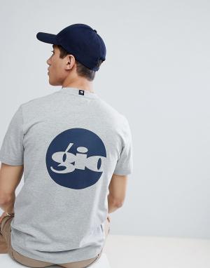 Серая футболка с принтом на спине Gio Goi. Цвет: серый