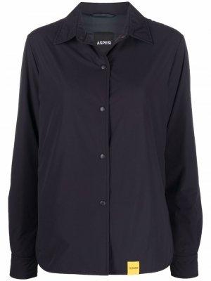 Куртка-рубашка с нашивкой-логотипом Aspesi. Цвет: синий