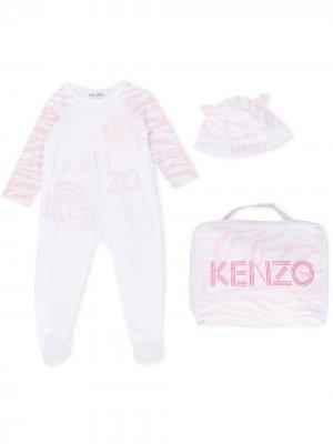 Пижамный комплект с анималистичным принтом и логотипом Kenzo Kids. Цвет: белый