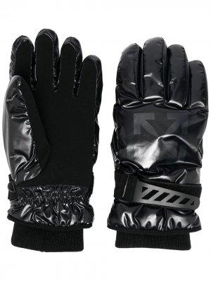 Перчатки с логотипом Off-White. Цвет: черный
