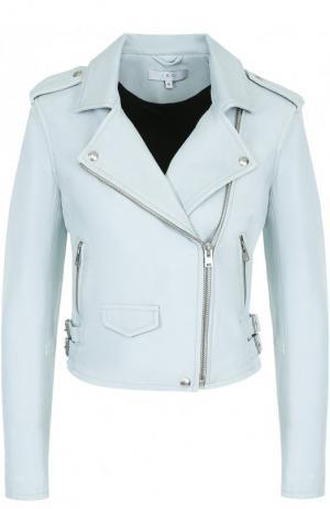 Однотонная кожаная куртка с косой молнией Iro. Цвет: голубой