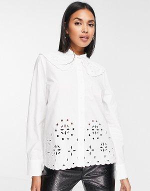 Белая рубашка с вырезным узором и большим воротником Valleria-Белый In Wear