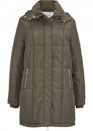 Стёганое пальто с капюшоном bonprix. Цвет: зеленый