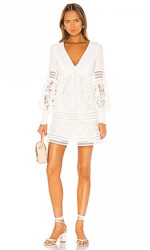 Обегающее сверху и плиссированное от пояса платье mariah Bardot. Цвет: белый