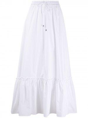 Ярусная расклешенная юбка макси Pinko. Цвет: белый