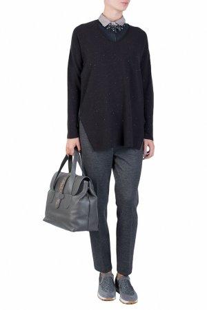Черный трикотажный пуловер с пайетками Fabiana Filippi