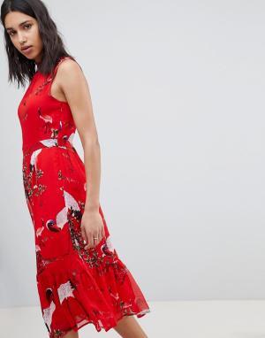Платье миди с принтом птиц Sofie Schnoor. Цвет: красный