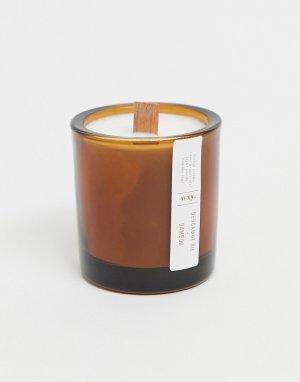 Масляная свеча мини 150 г с ароматом бамбука и бергамота в подставке из янтаря .-Бесцветный WXY