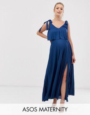 Платье макси с кроп-топом завязками на плечах ASOS DESIGN Maternity-Темно-синий Maternity
