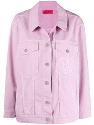Джинсовая куртка с вышивкой IRENEISGOOD. Цвет: розовый