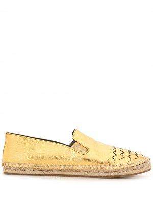 Эспадрильи с плетением Intrecciato и закругленным носком Bottega Veneta Pre-Owned. Цвет: золотистый