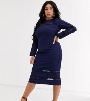 Темно-синее платье миди с длинными рукавами -Темно-синий Paper Dolls Plus