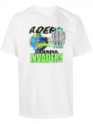 Футболка оверсайз Space Invaders Ader Error. Цвет: белый