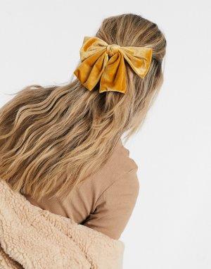Заколка для волос с крупным бантом желтого цвета London-Желтый My Accessories