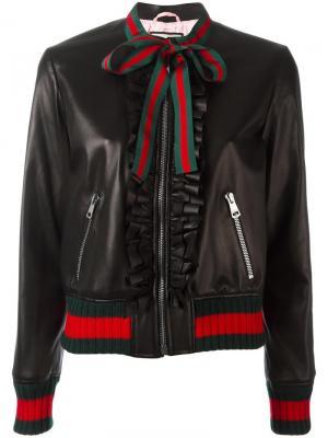 Куртка-бомбер с рюшами Gucci. Цвет: чёрный
