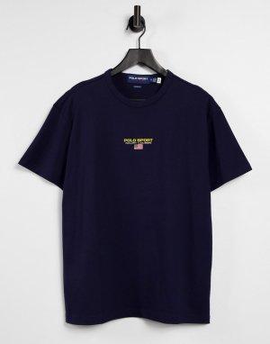 Темно-синяя футболка с центральным логотипом Sport Capsule-Темно-синий Polo Ralph Lauren