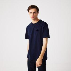 Нижнее белье и шорты Домашняя футболка Lacoste. Цвет: темно-синий