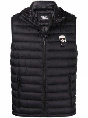 Дутый жилет с нашивкой-логотипом Karl Lagerfeld. Цвет: черный