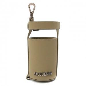 Кожаный футляр для бутылки Le porte gourde Jacquemus. Цвет: хаки