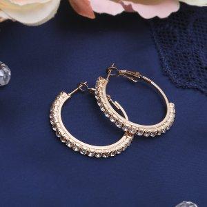 Серьги-кольца princess дорожка малая, цвет белый в золоте, d=3 см Queen fair