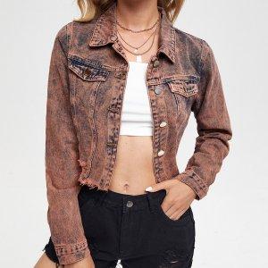 Джинсовые куртки и пальто SHEIN. Цвет: коричневые