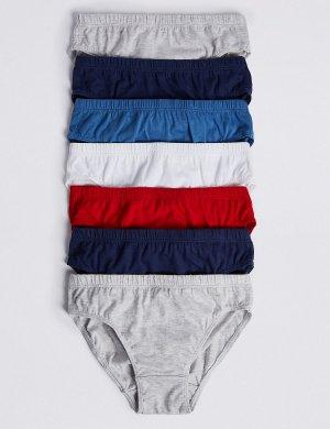Трусы-брифы из 100% хлопка для мальчика, морской микс (набор 7 пар) Marks & Spencer. Цвет: морской микс
