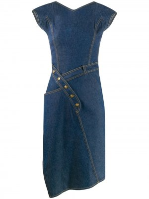 Джинсовое платье асимметричного кроя 2000-х годов Christian Dior. Цвет: синий