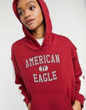 Красный худи без застежки с логотипом American Eagle