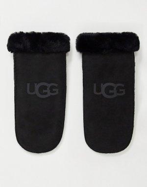 Черные варежки из овчины -Черный цвет UGG