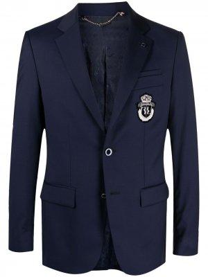 Однобортный пиджак узкого кроя с вышивкой Billionaire. Цвет: синий