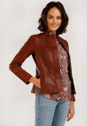 Куртка кожаная Finn Flare. Цвет: коричневый
