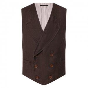 Льняной жилет Giorgio Armani. Цвет: коричневый
