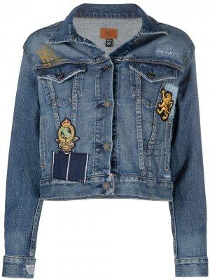 Джинсовая куртка в технике пэчворк Lauren Ralph. Цвет: синий