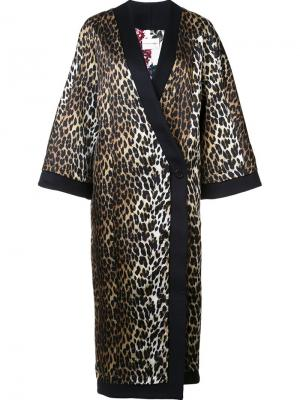Пальто с леопардовым узором Emanuel Ungaro. Цвет: коричневый