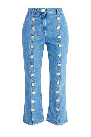 Расклешенные джинсы длины ⅞ с отделкой фирменными пуговицами BALMAIN. Цвет: синий