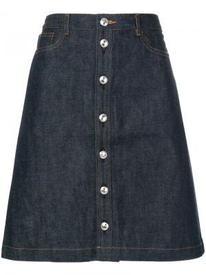 Джинсовая юбка на пуговицах A.P.C.. Цвет: синий