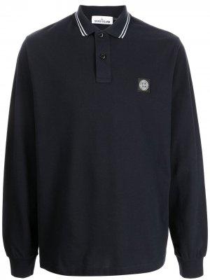 Рубашка поло с длинными рукавами и нашивкой-логотипом Stone Island. Цвет: синий