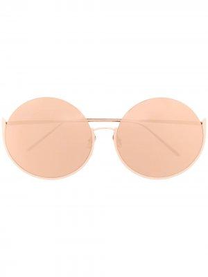 Солнцезащитные очки Olivia в круглой оправе Linda Farrow. Цвет: золотистый