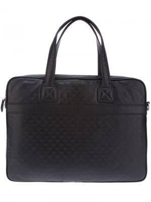 Сумка для ноутбука с логотипом Emporio Armani. Цвет: черный
