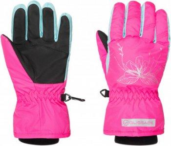 Перчатки для девочек , размер 4 Glissade. Цвет: розовый