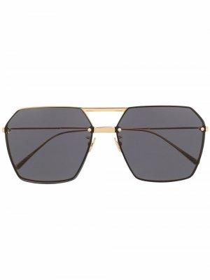 Солнцезащитные очки в геометричной оправе Bottega Veneta Eyewear. Цвет: золотистый