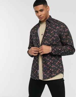 Черная рубашка с цветочным принтом -Черный Esprit