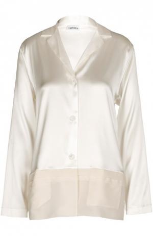 Шелковая блуза в пижамном стиле La Perla. Цвет: кремовый