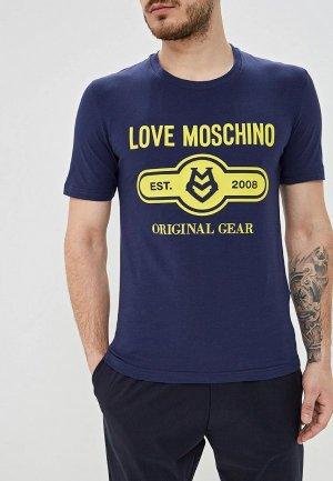 Футболка Love Moschino. Цвет: синий