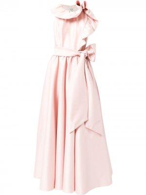 Asymmetric-ruffle belted gown Badgley Mischka. Цвет: розовый